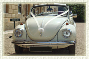 1960's VW Beatle convertible in Pearl White