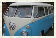 Customised Classic 1960's VW Split Screen Microbus in White over Baby Blue