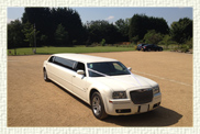 10 seater (8 passenger) Chrysler Benz 300C American stretch Limousine in White