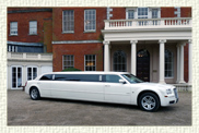 10 seater (8 passenger) Chrysler Benz 300 C American Stretch Limousine in White