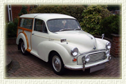 It's a 1968 Morris Minor 'Shooting Brake' in White