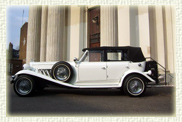 1930's style Four Door Beauford Open Top Tourer in White with Chrome Wheels